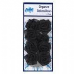 Organza Ribbon Roses Black pk 8